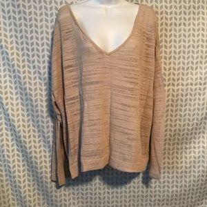 Lane Bryant 3X tan sheer v neck sweater 405